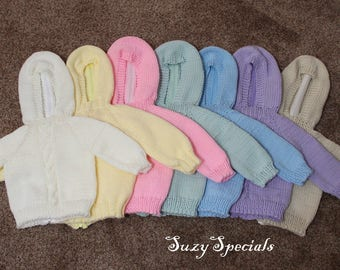 Knitted Hooded Baby Sweaters in Pastel Colors With Back Zipper