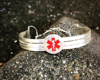 10 dollars off: Sterling Silver 3-Tier Medical Alert Cuff - Personalized - 8 font choices