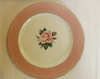 Homer Laughlin Pink Banded Plate With Pink Rose Center