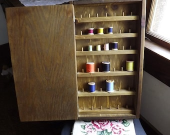 Handmade Wooden Cabinet For Spools Of Thread
