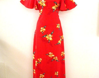 Vintage 70s RED Hawaiian Maxi Dress with Flutter Sleeves - 1970s Red with Yellow Orchids Hawaiian Muu Muu Dress - Size Large 18