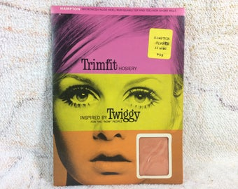 Vintage 60s Trimfit Nylon Pantyhose Hosiery Inspired by Twiggy Hampton Copper Orange Size 11 Long from 1967 Mod