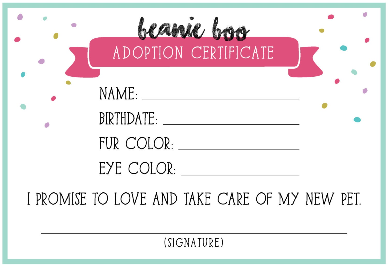 Adoption certificate – Adoption Certificate Template