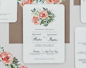 Boho Rustic Floral Wedding Invitations, Boho Red Rose Wedding Invites,Rose  Floral Wedding Invitation
