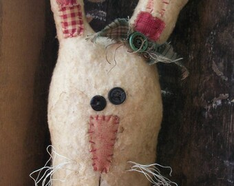Primitive Spring Bunny Face Summer Rabbit country shelf sitter doll