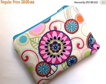 SUNDAY SALE Small Coin Purse Padded Zipper Pouch Small Floral Gadget Bag Change Purse Clutch Card Case Flowers Cream Pink Turq
