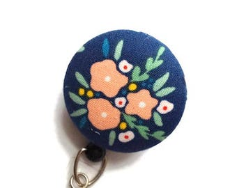 Badge Reel Retractable Badge Holder ID Badge Holder Retractable Lanyard Name Badge Holder Swivel Badge Clip Nurses ID Holder Floral Navy