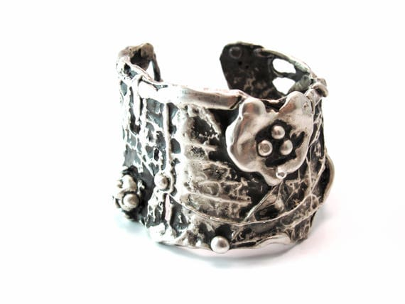Mothers Day Sale Ophelia Open Vine Sterling Silver 925 Artistic Cuff, Limited Edition Series