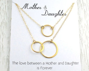 Holiday Sale Mother-Daughter Necklace Set,  Eternity Necklace Gift, Interlocking Double Circle Link, Christmas Gift,  24K Gold Vermeil, I...