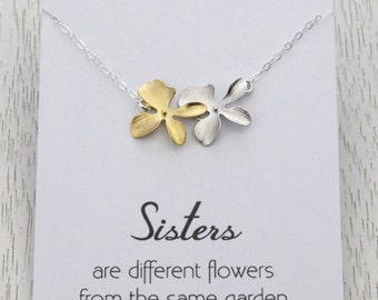 HOLIDAY SALE Silver Gold Sisters Necklace, Orchid Flower Necklace Gift, with/without Message Card, Bridesmaids Gift, Sisterhood Gift, Sou...