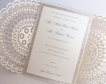 Laser Cut Wedding Invitation, Doily Laser Wedding Invite, Bohemian Wedding Invite, Doily Wedding Invitation, DOILY 1 - Gold FOIL GLITTER