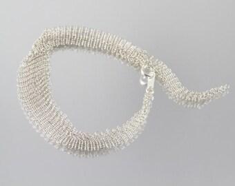 River, fine delicate sterling silver mesh bracelet by Ashley Childs