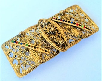 Ornate Gold Filigree Buckle... c.1920s Czech... Missing Stones