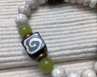 STRETCHY BRACELET, JADE, Howlite, Brass, African Bone Cube, Ethnic, African