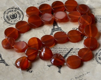 24coin beads and 4 pcs heart beads,Red agate coin beads, agate beads loose strands, agate beads