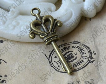 10 pcs Charms key Pendant Antique bronze Tone,key Pendant Charms Fingdings pendant,jewelry pendant finding,Metal pendant