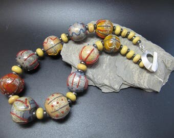 Handmade Lampwork Necklace - Spice Trail