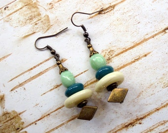 Mint Green, Teal Blue, Ivory and Brass Boho Ethnic Earrings (3310)
