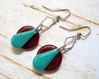 Teal, Burgundy and Silver Geometric Earrings (3379)