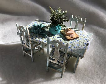 Dolls House Luxury Hand made 1/24th Table and Chairs - NEW SPRING 2017