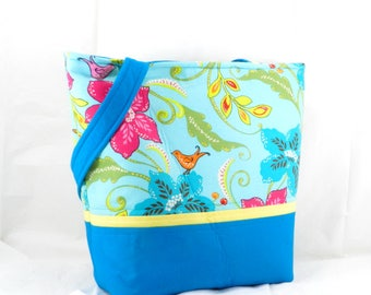 Handmade Large Purse, Bird and Flower, Blue and Aqua, Brother Sister, Design Studio, Shoulder Bag, Medium Tote Bag, LibraryTote
