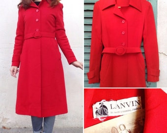 LANVIN Paris couture 1960s 70s red wool belted coat