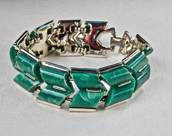 Coro Bracelet Thermoset Green Marbled Spinach Silvertone Links Panel Bracelet Signed Vintage Designer Vintage Jewelry 1960s 1970s