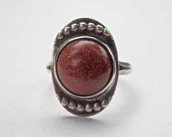 Goldstone Ring MACHINE AGE Style Sterling Silver 925 Industrial Jewelry Size 9 Ring Vintage Jewelry Silver Ring Orange