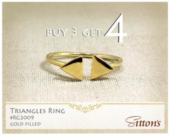 triangles gold filled ring, buy 3 get 4, minimal ring, open ring, knuckle ring