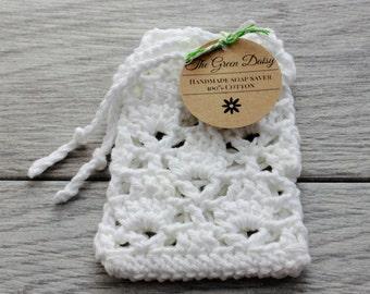 Pretty Crochet Soap Saver in White with a drawstring - Cotton Soap Bag - Soap Envelope
