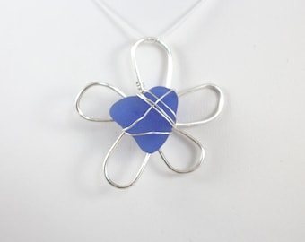 Blue Silver Sea Glass Daisy Flower Necklace Pendant