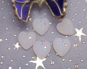 White Opaque Hearts -Glacier Blue - !6x15mm Hearts