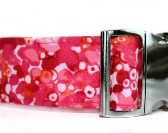 Extra Wide Dog Collar with Nickel Plate Hardware 1.5 Inch Wide Pink Dog Collar, Girl Dog Collar Pink and Orange Dog Collar with Metal Buckle
