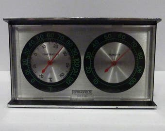 Vintage Free Standing Springfield Mantel humidity meter temperature thermometer