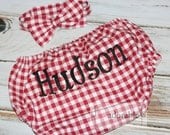 Red Gingham Barnyard Birthday Smash Cake Set, Diaper Cover and Bow Tie for Baby Boys, FREE PERSONALIZATION, First Birthday Outfit