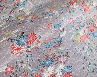 Japanese pure silk cloth from Kyoto Gray Floral pattern