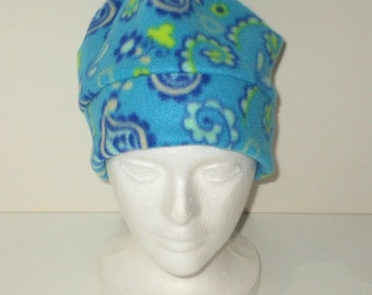 Turquoise Paisley Print Adult Fleece Beanie With Extra Warmth Band - Gift For Her - Women's Hat - Birthday Gift - Hiking Hat