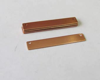 1/4 x 1 1/2 -Copper blanks with 2 holes - Hand stamping metal blanks - bar blanks - brass bar blanks - great for necklaces
