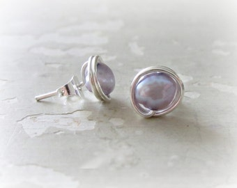 Pearl Stud Earrings, Lavender Stud Earrings, Sterling Studs, Pearl Earrings, Freshwater Pearl Studs, Small Stud Earrings, Post Earrings