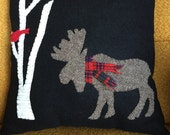 Moose and Red Bird Wool Applique Pillow, Primitive, Rustic Cabin, Moose Winter