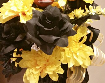 Black and Gold Pittsburgh Sports Floral Arrangement