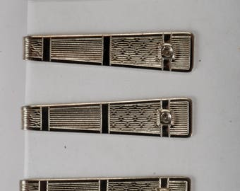 Lot Of 4 Vintage Silver Plated Solid Brass UNFINISHED Etched Design Tie Clips Tieclips DIY New Old Stock