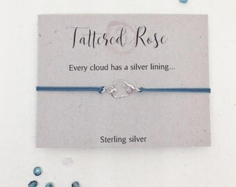 Cloud charm bracelet- sterling silver cloud cord bracelet with sliding clasp - Friendship jewellery - quote jewellery
