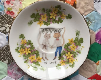 Lucky In Love Wedding Cats Clover Floral Vintage Illustrated Plate