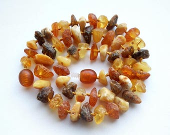 """13.4"""" Natural Baltic Amber child necklace, raw beads, teething necklace"""