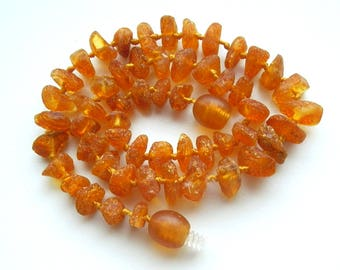"""11.20 """" Natural Baltic Amber baby teething necklace, raw beads, max effect, child necklace"""