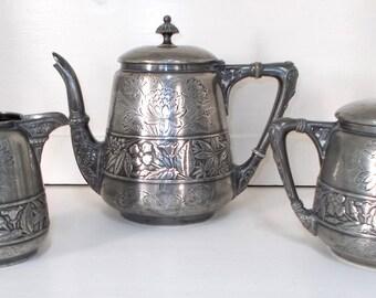 Meriden Silver Plate Co. Quadruple Plate.  Antique Tea Set