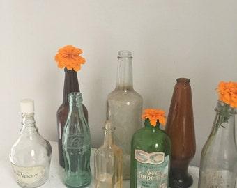 Vintage apothecary bottles, vintage glass bottles, antique glass vases, Vintage Glass Coke Bottle