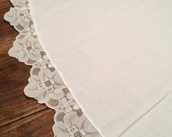 White Lace and linen Tablecloth / Lace Tablecloth /Vintage Lace Tablecloth /Bridal Luncheon/ Wedding Gift, antique tablecloth