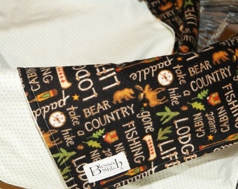 The Great Outdoors! Flannel Baby Blanket, Fishing, Bear Country, Lodge Life! Moose and Bears, Adorable Baby Boy or Toddler Blanket